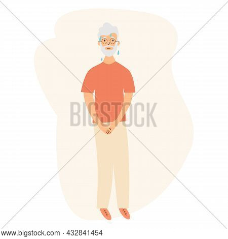 Urinary Incontinence Problem. Elderly Men Wants To Pee. The Old Men Feels Pain In His Groin. Experie