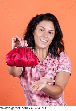 Earnings. Woman Shopping And Paying. Happy Girl Hold Wallet With Money. Buyer In Supermarket. Custom