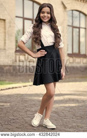 Learning Rules. Happy Child Wear Uniform Outdoors. Fashion Look Of Little Girl. Formal Education. Ba