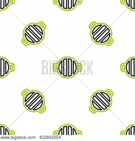 Line Barbecue Grill Icon Isolated Seamless Pattern On White Background. Bbq Grill Party. Vector