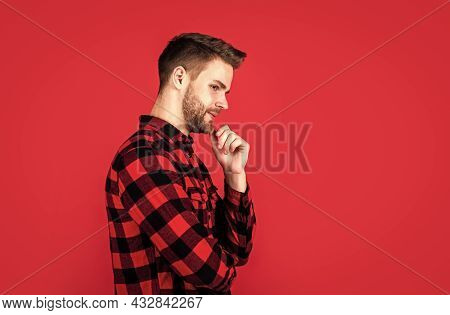 Well Groomed Hairstyle. Male Beauty And Fashion Look. Hipster Checkered Shirt For Bearded Guy. Unsha