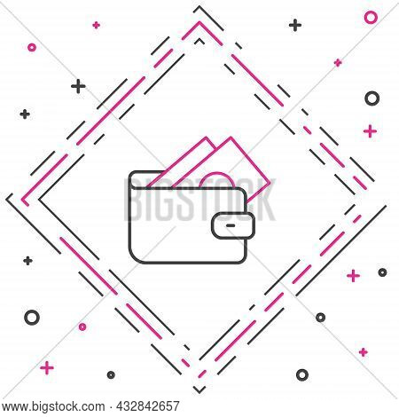 Line Wallet With Stacks Paper Money Cash Icon Isolated On White Background. Purse Icon. Cash Savings