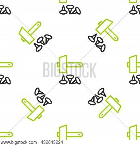 Line Crucifixion Of Jesus Christ Icon Isolated Seamless Pattern On White Background. Hammer And Old