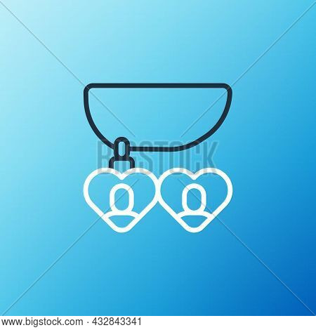 Line Necklace With Heart Shaped Pendant Icon Isolated On Blue Background. Jewellery Decoration. Inte