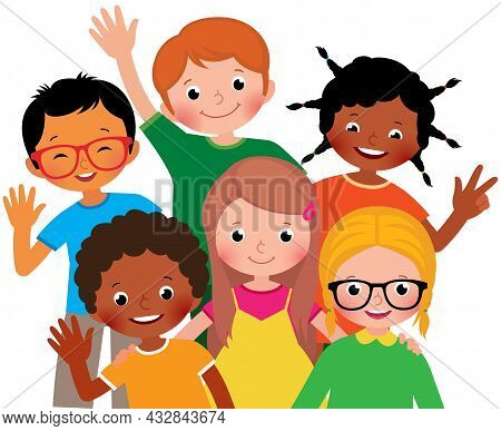 A Group Portrait Of Several Children Of Friends Of Different Ethnic Groups Embracing Together Laughi