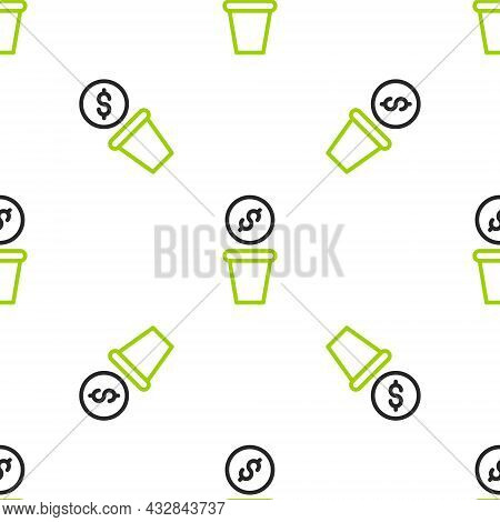 Line Donation Money Icon Isolated Seamless Pattern On White Background. Hand Give Money As Donation