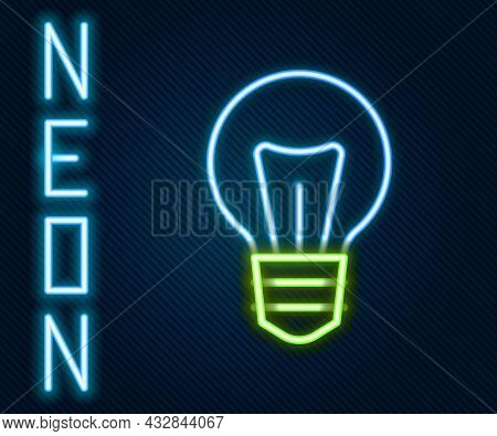 Glowing Neon Line Light Bulb With Concept Of Idea Icon Isolated On Black Background. Energy And Idea