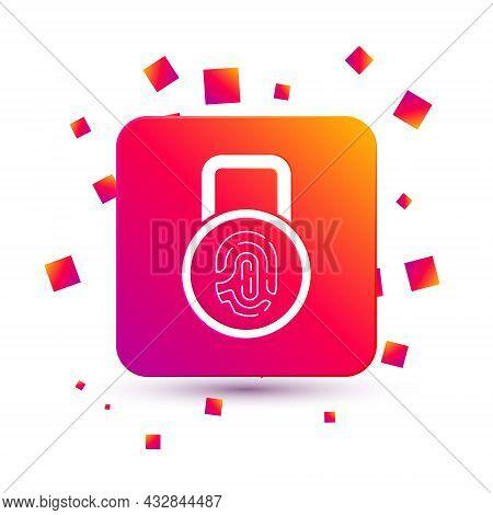 White Fingerprint With Lock Icon Isolated On White Background. Id App Icon. Identification Sign. Tou