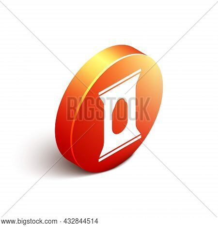 Isometric Wet Wipe Pack Icon Isolated On White Background. Orange Circle Button. Vector