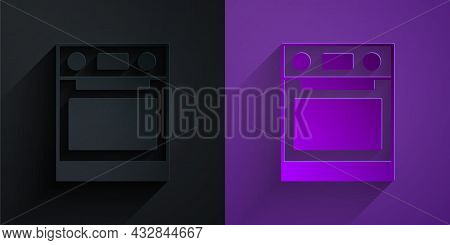 Paper Cut Oven Icon Isolated On Black On Purple Background. Stove Gas Oven Sign. Paper Art Style. Ve