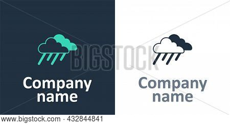 Logotype Cloud With Rain Icon Isolated On White Background. Rain Cloud Precipitation With Rain Drops