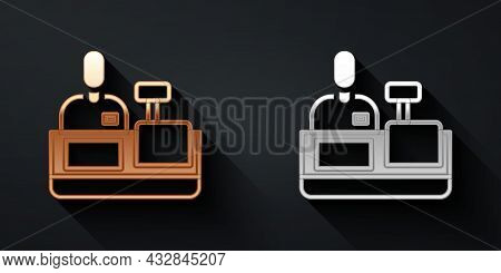 Gold And Silver Cashier At Cash Register Supermarket Icon Isolated On Black Background. Shop Assista