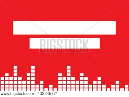 Composition of white block eq frequency meters with white copy banners on red. music and audio event communication concept, template with copy space digitally generated image.
