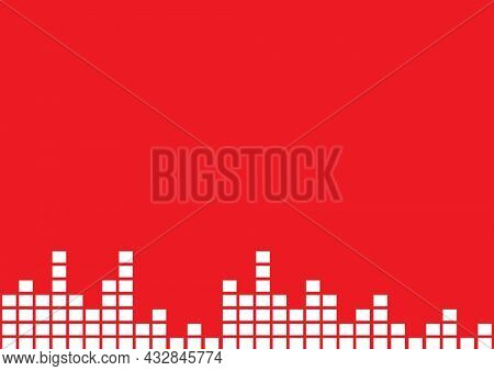 Composition of white block eq frequency meters on red background. music and audio event communication concept, template with copy space digitally generated image.
