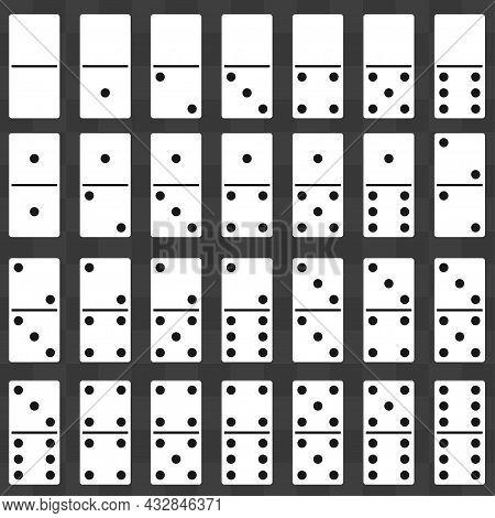 Domino Stones Full Set. Dominoes Game Bones. Vector