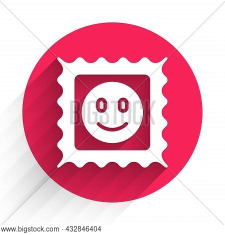 White Lsd Acid Mark Icon Isolated With Long Shadow. Acid Narcotic. Postmark. Postage Stamp. Health D
