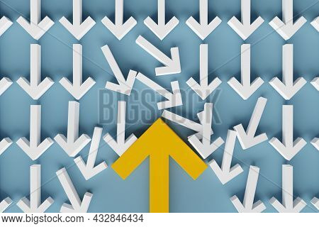 Many Arrows Pointing In One Directions With One Big Arrow In Opposite Direction Over Blue Background