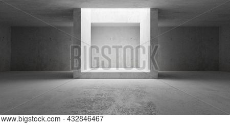 Empty Modern Abstract Concrete Room With Open Ceiling Light And Concrete Frame, Product Presentation