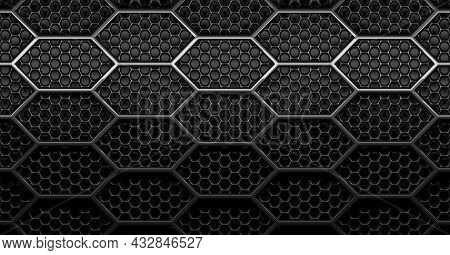 Double Layer Black, Shiny Round Hexagon Honeycomb Grid Grill Background With Light From Above, 3d Il