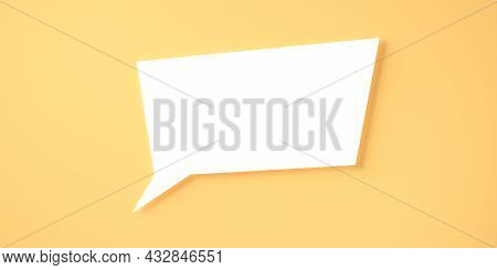 Single Square White Empty Speech Bubble Or Balloon Over Orange Background With Shadow Template, 3d I