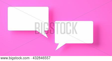 Two Rectangular White Empty Speech Bubble Or Balloon Over Violet Background With Shadow Template, 3d