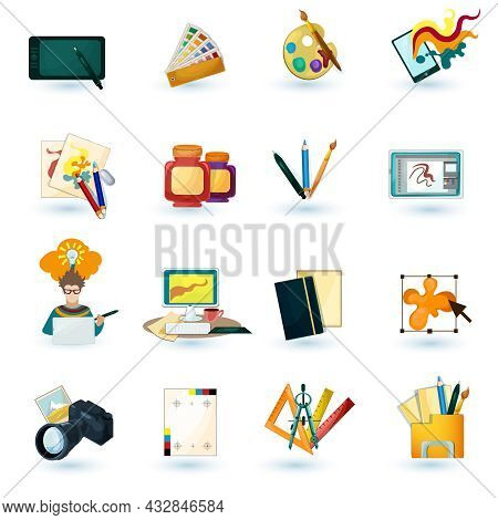 Graphic Designer Decorative Icons Set With Tablet Paint Palette Isolated Vector Illustration