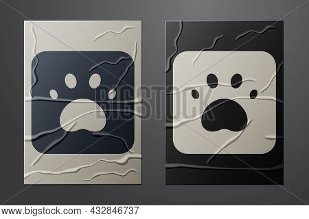 White Paw Print Icon Isolated On Crumpled Paper Background. Dog Or Cat Paw Print. Animal Track. Pape