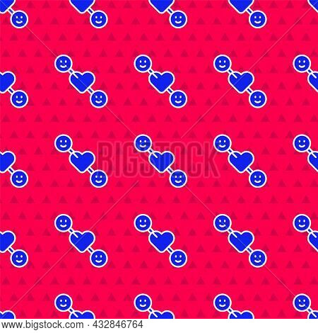 Blue Romantic Relationship Icon Isolated Seamless Pattern On Red Background. Romantic Relationship O