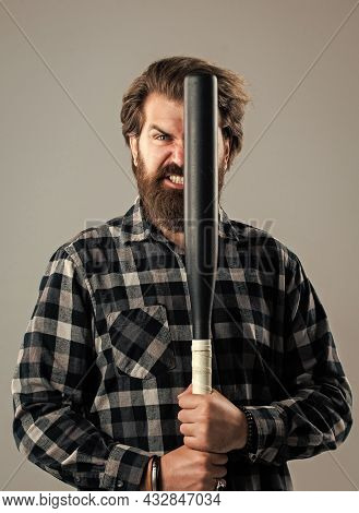 Fighting And Aggression Concept. Brutal Bearded Man In Checkered Shirt. Mature Guy With Beard And Mo