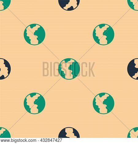 Green And Black Global Economic Crisis Icon Isolated Seamless Pattern On Beige Background. World Fin