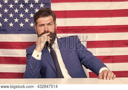 Let Freedom Reign. American Citizen On National Flag Background. Citizen Advocacy. Independence Day.