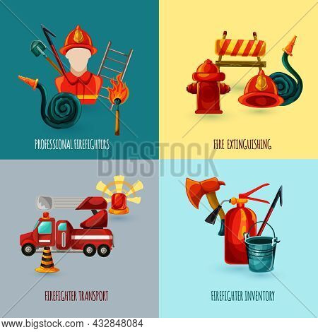 Professional Firefighter Design Concept Set With Transport And Inventory Icons Isolated Vector Illus