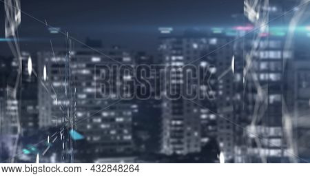 Digital image of Network of connections against aerial view of cityscape. Global networking and connection concept
