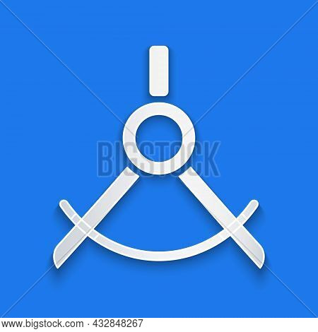 Paper Cut Drawing Compass Icon Isolated On Blue Background. Compasses Sign. Drawing And Educational