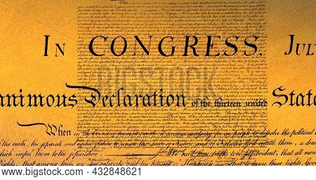 Digital image of a written constitution of the United States moving in the screen against a brown background. 4k