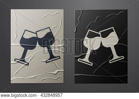 White Wine Glass Icon Isolated On Crumpled Paper Background. Wineglass Sign. Paper Art Style. Vector