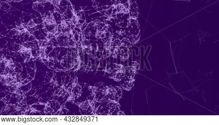 Digital image of Network of connections forming different shapes against purple background. Global networking and connection concept
