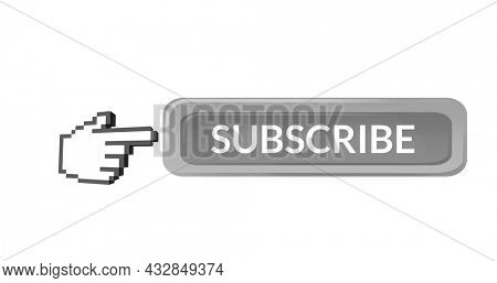 Digital image of the word SUBSCRIBE and hand icon vector on the right side pointing on it on white background. 4k