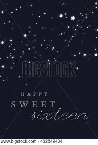 Composition of happy sweet sixteen text over white stars on black background. sixteenth birthday greetings card template concept digitally generated image.
