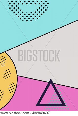Composition of geometric shapes and patterns on diagonally divided blue, pink and grey background. party invitation template concept with copy space digitally generated image.