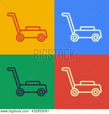 Pop Art Line Lawn Mower Icon Isolated On Color Background. Lawn Mower Cutting Grass. Vector