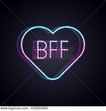 Glowing Neon Line Bff Or Best Friends Forever Icon Isolated On Black Background. Vector
