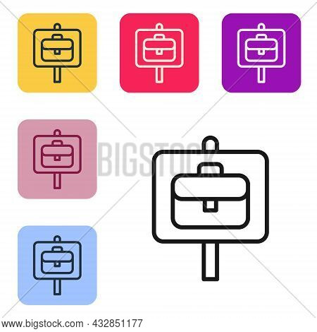 Black Line Magnifying Glass With Briefcase Icon Isolated On White Background. Job Hunting. Work Sear