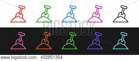 Set Line Sandbox With Sand And Shovel Icon Isolated On Black And White Background. Vector