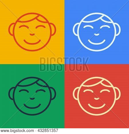 Pop Art Line Happy Little Boy Head Icon Isolated On Color Background. Face Of Baby Boy. Vector
