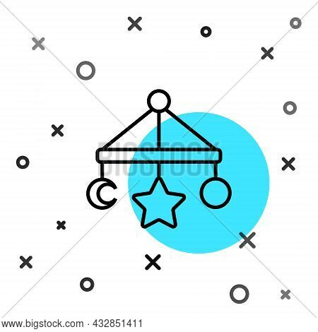 Black Line Baby Crib Hanging Toys Icon Isolated On White Background. Baby Bed Carousel. Random Dynam