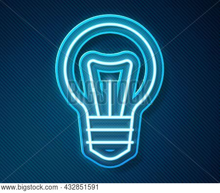 Glowing Neon Line Light Bulb With Concept Of Idea Icon Isolated On Blue Background. Energy And Idea