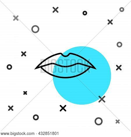 Black Line Smiling Lips Icon Isolated On White Background. Smile Symbol. Random Dynamic Shapes. Vect
