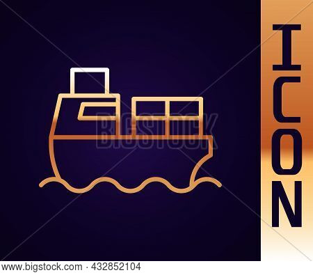 Gold Line Cargo Ship With Boxes Delivery Service Icon Isolated On Black Background. Delivery, Transp