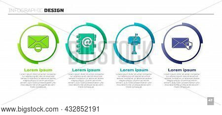 Set Delete Envelope, Address Book, Mail Box And Envelope With Shield. Business Infographic Template.